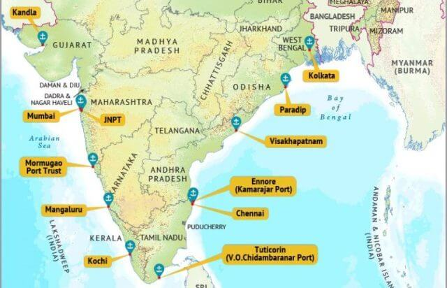 map of ports in india